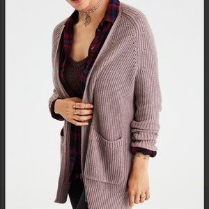 American Eagle Light Pink Slouchy Plaited Cardigan